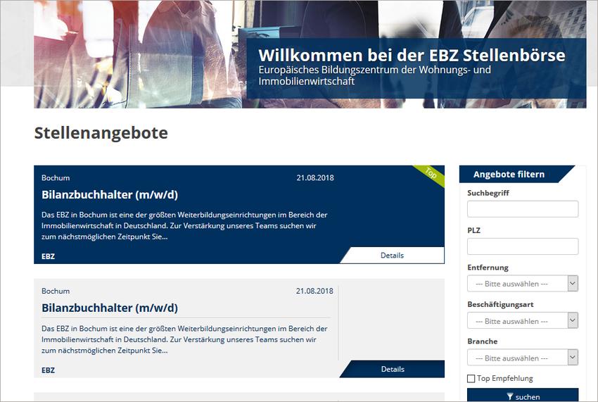 EBZ Stellenbörse Anleitung Gesamtübersicht