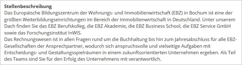 EBZ Stellenbörse Anleitung Finale Ansicht der Stellenbeschreibung